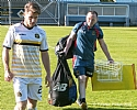 Andy Stirling and kit man Colm McKinley show how they feel 53