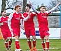 Cammy Ballantine, Ryan Thomson and Calum Gallagher celebrate with scorer Dom Thomas 52
